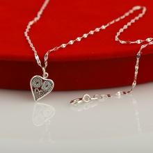 Opal - Dây chuyền bạc kèm mặt bạc charm hình tim _T08
