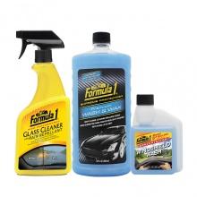 Combo nước rửa xe có chất đánh bóng cao cấp-Nước rửa kính chống bám nước-Nước châm kiếng đậm đặc Formula 1