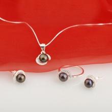 Opal- Bộ trang sức bạc và ngọc trai đen huyền bí _T08
