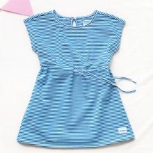 Đầm kẻ sọc thắt nơ eo Tiniboo (Sọc xanh)