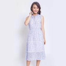 Đầm xòe thời trang Eden cổ nơ hoa nhí D304 (xanh)