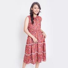 Đầm xòe thời trang Eden cổ nơ hoa nhí D304 (đỏ)