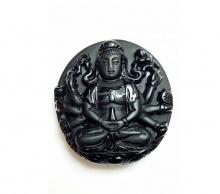 Mặt Phật đá onyx đen 49x46x14mm Hadosa - NSPBO201