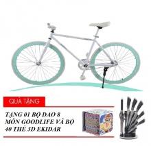 Xe đạp thể thao Fixed Gear (trắng) tặng bộ 40 thẻ 3D Ekidar hoa quả và bộ dao 8 món Goodlife