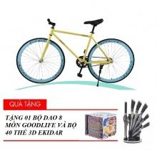 Xe đạp không phanh Fixed Gear (vàng) - tặng bộ 40 thẻ 3D Ekidar dụng cụ và bộ dao 8 món Goodlife