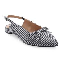 Giày búp bê mũi nhọn phối nơ Girlie S12004 - Sọc đen