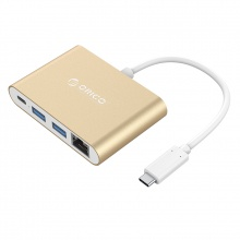 Đầu đổi Type C  ra LAN+ USB 3.0+Type C Orico RCR2A-GD (Màu Gold)