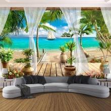 Tranh dán tường 3D phong cảnh bờ biển PC20 (Kích thước : 100x150cm)