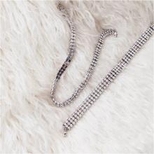 Vòng cổ choker đính đá - Tatiana - CD1043 (Bạc )