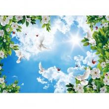 Tranh trần nhà 3D bầu trời hoa lá TN52