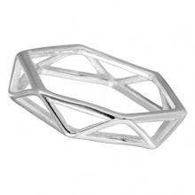 Nhẫn mạ bạc hexagon - Tatiana - NB2429 (bạc)