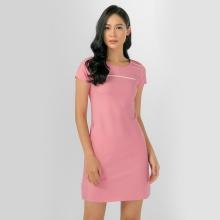 Đầm suông công sở Eden phối viền D306 (hồng)