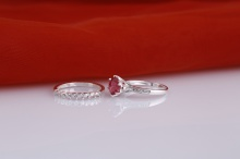 Opal -Nhẫn cặp bạc đính đá ross_T09