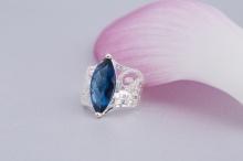 Opal - Nhẫn bạc đính đá ross xanh _T09