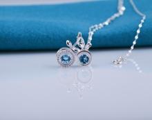 Opal- Mặt bạc đính đá xanh quyến rũ kèm dây chuyền bạc_ T09