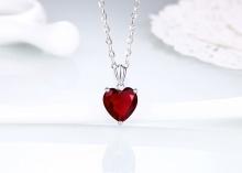Opal - Dây chuyền bạc kết hợp mặt bạc đá tim đỏ quyến rũ _T09