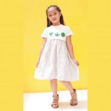 Đầm xòe bé gái Ugether phối thân đắp họa tiết UKID185