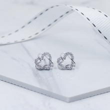 Bông tai nữ mạ bạc đá zircon mini heart - Tatiana - BB3495 (Bạc)