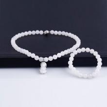 Opal - Vòng cổ đính mặt phật kèm vòng tay đá trắng phong thủy_T09