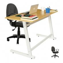 Bộ bàn Oak-Z trắng và ghế IB505 có tay đen