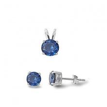 Opal - Mặt thỏ bạc đính đá và hoa tai bạc đính đá ross xanh_T09