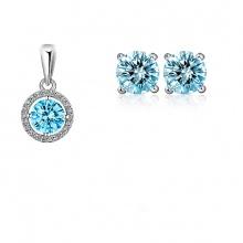 Opal - Mặt bạc đính đá kèm hoa tai bạc đính đá_T09