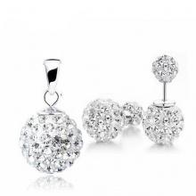 Opal - Mặt bạc đính đá kèm hoa tai bạc_T09