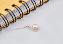 Opal - Dây chuyền bạc kèm mặt bạc hoa mặt trời đính ngọc trai hồng_T09