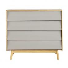 Tủ ngăn kéo Senja Vintage gỗ tự nhiên 4 ngăn màu ghi xám - Cozino