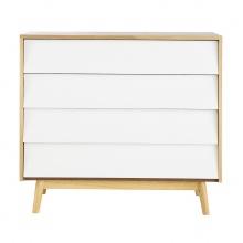 Tủ ngăn kéo Senja Vintage gỗ tự nhiên 4 ngăn màu trắng - Cozino