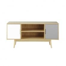 Tủ tivi Senja gỗ tự nhiên 2 cánh xám-trắng - Cozino