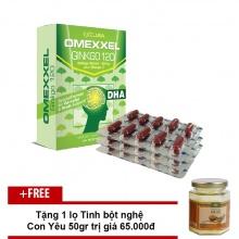Viên uống hoạt huyết dưỡng não Omexxel Ginkgo 120 ( 30 viên) - Chính hãng Mỹ + Tặng 1 lọ tinh bột nghệ