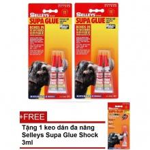 Bộ 2 tuýp keo con voi Selleys Supa Glue 2x3ml tặng 1 tuýp Supa 3ml