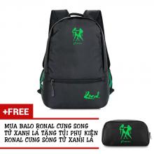 Ba lô thời trang Ronal BL78 đen tặng túi phụ kiện - Cung Song Tử xanh lá