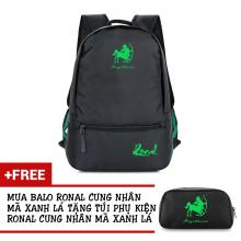 Ba lô thời trang Ronal BL78 đen tặng túi phụ kiện - Cung Nhân Mã xanh lá