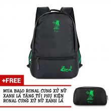 Ba lô thời trang Ronal BL78 đen tặng túi phụ kiện - Cung Xử Nữ xanh lá