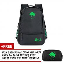 Ba lô thời trang Ronal BL78 đen tặng túi phụ kiện  - Cung Kim Ngưu xanh lá