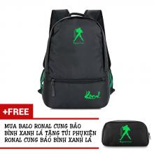 Ba lô thời trang Ronal BL78 đen tặng túi phụ kiện  - Cung Bảo Bình xanh lá