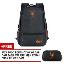 Ba lô thời trang Ronal BL78 đen tặng túi phụ kiện  - Cung Hổ Cáp cam