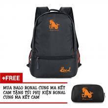 Ba lô thời trang Ronal BL78 đen tặng túi phụ kiện  - Cung Ma Kết cam