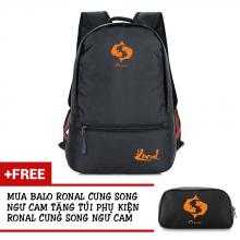 Ba lô thời trang Ronal BL78 đen tặng túi phụ kiện  - Cung Song Ngư cam