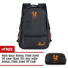 Ba lô thời trang Ronal BL78 đen tặng túi phụ kiện  - Cung Song Tử cam
