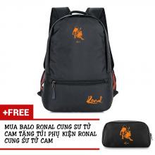 Ba lô thời trang Ronal BL78 đen tặng túi phụ kiện  - Cung Sư Tử cam