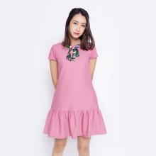 Đầm suông công sở thời trang Eden nơ cổ D315 (hồng)