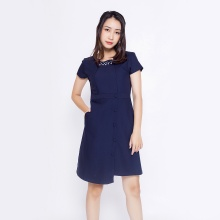 Đầm suông công sở thời trang Eden phối tà đính hạt D313 (xanh đen)
