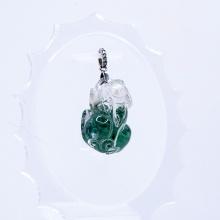 Mặt dây chuyền tỳ hưu thạch anh ưu linh xanh PDTGGQ01 - Vietgemstones