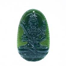 Mặt dây chuyền hư không tạng Bồ Tát ngọc bích - Phật độ mạng cho người tuổi Sửu, Dần - PBMNEP02 VietGemstones