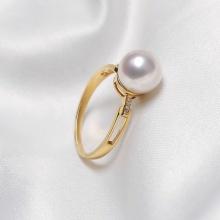Nhẫn vàng 18k ngọc trai Akoya biển thật Tie 8.5-9mm