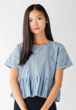 Áo nữ babydoll Papka croptop xanh sọc trắng  3040-Xanh