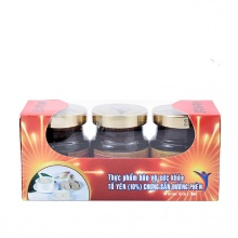 Tổ yến chưng sẵn 10% đường phèn - Khay 03 hũ (Plastic)